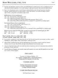 resume of financial controller resume sample for business controller finance executive