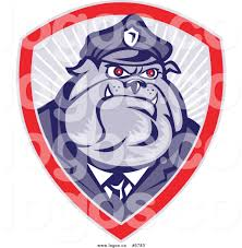 royalty free vector of a logo of a police bulldog officer badge by