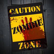 Zombie Apocalypse Halloween Decorations Zombie Caution Sign Printable Diy Halloween Walking Dead