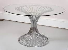 chrome round dining table mid 20th century chrome and glass top round dining table at 1stdibs