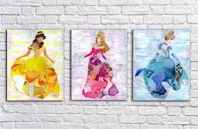 princess wall art princess decor belle wall art cinderella zoom