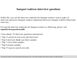 banquet waitress interview questions