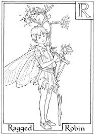 print letter r for ragged robin flower fairy coloring page or