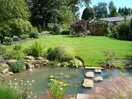natural minimalist garden landscape with fish pond decor combined