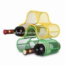 wholesale three bottle mesh stackable wine rack with powder