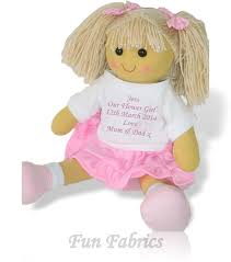 flower girl doll gift personalised rag doll flower girl bridesmaid wedding favour gift