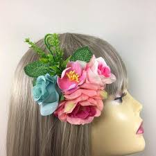 hair corsage vintage floral hair clip corsage for weddings blue pink