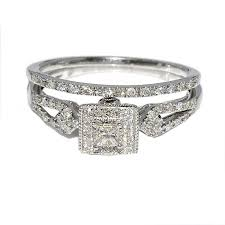 vintage wedding ring sets wedding ring set princess cut diamond cntr 4ct split shoulder