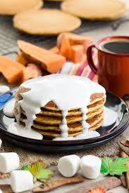 sweet potato pancakes marshmallow sauce the worktop