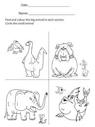 kindergarten activities big and small large and small worksheets