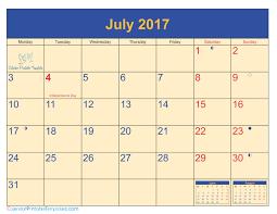 2017 us calendar printable july calendar 2017 printable