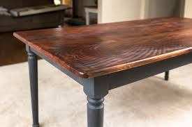 Wooden Kitchen Table Diy Farmhouse Kitchen Table On Rustic - Black dining table with wood top