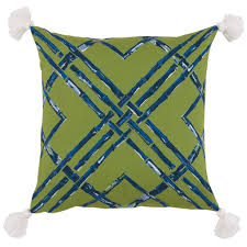 Navy Blue Patio Chair Cushions Bamboo Print Indoor Outdoor Pillow With Tassels U2014 Green U0026 Blue