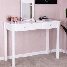 dressing table with mirror and drawers costway vanity table dressing table flip top desk mirror 2 drawers
