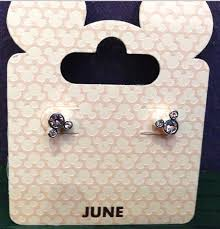 mickey mouse earrings disney parks mickey mouse faux gem june birthstone stud earrings