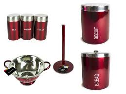metallic wine red tea coffee sugar biscuit bread bin utensil roll