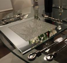 of 6 mirrored place mats filled with swarovski crystals