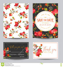 wedding invitation rsvp date tropical pomegranates flowers and leaves wedding invitation card