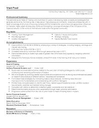 Trade Resume Examples Stock Resume Sample Resume Cv Cover Letter Prop Trader Sample