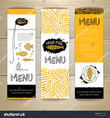 fried fish restaurant menu concept design stock vector 266226536