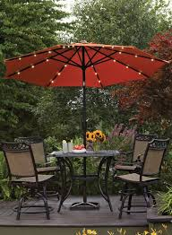Patio Umbrellas With Led Lights This Umbralla Features Battery Operated Led Lights For A Bit Of