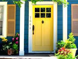 Exterior White Wood Paint - cheerful blue house exterior paint idea with yellow door white