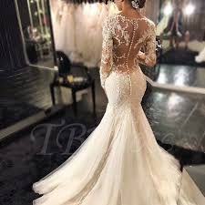 mermaid wedding dresses gauze scoop neck sleeves lace appliques court mermaid