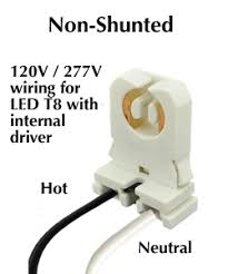 rewire fluorescent light for led internal driver led t8s require non shunted sockets