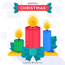 flat background with christmas candles vector free download
