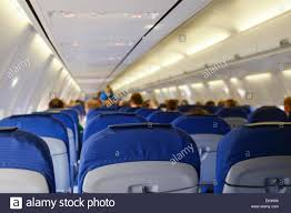 inside of an airplane from klm a boeing 737 with blurred stock