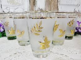 vintage cocktail set bar glasses cocktail glass set mid century barware libbey gold