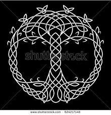 celtic drawing symbol tree black stock vector 622204442