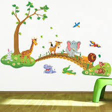 cartoon jungle wild animal tree bridge lion giraffe elephant birds