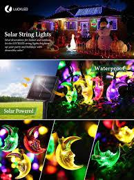 outdoor string lights solar luckled 20ft 30 led moon solar string christmas lights with sensor
