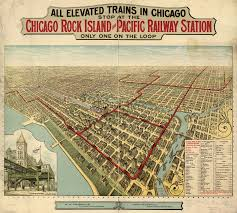 Chicago Loop Map by Elevated Trains In Chicago 1897