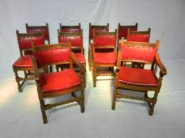 Upholstered Dining Chair Set Antique Furniture Warehouse Set 10 Arts Crafts Oak Chairs Set