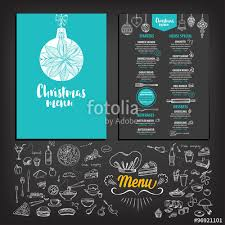 Happy New Year Invitation Vector Christmas Restaurant Brochure Menu Design Vector Holiday