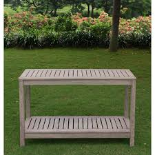 grey outdoor buffet side table rectangular wood plant stand