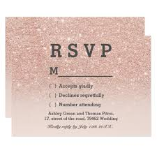 rsvp wedding gold faux glitter pink ombre rsvp wedding card zazzle