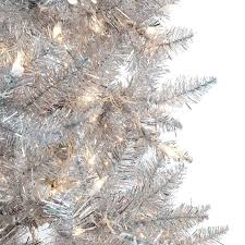 silver tinsel pre lit tree by sterling tree