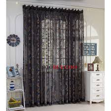 Cheap Black Curtains Classic Black Sheer Curtains Jacquard Brown Floral Pattern Buy