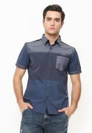 Baju Levis Biru kemeja pria formal casual branded lengan panjang pendek
