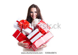 gifts for a woman joyful woman woman holding boxes gifts stock photo 324823736