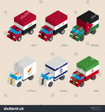 Middle Eastern Country Flags Set Isometric 3d Cargo Trucks Flags Stock Vector 582773143