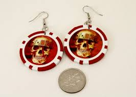 alternative earrings skull chip earrings aftcra