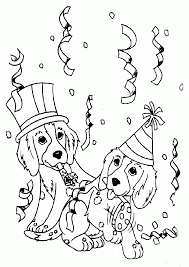 printable happy birthday coloring pages with dogs coloring home