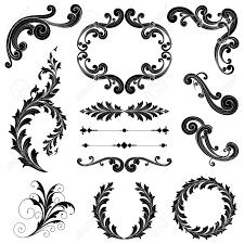 floral ornament set ornamental scrolls text dividers frames