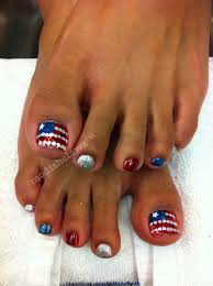 4th of july pedicure red white and blue stripes and star