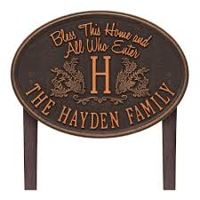 monogram plaques bless this home monogram oval personalized plaque 2824ob the