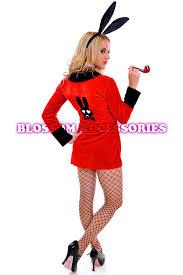Playboy Halloween Costume J37 Ladies Playboy Rabbit Red Robe Jacket Fancy Dress Hens Night
